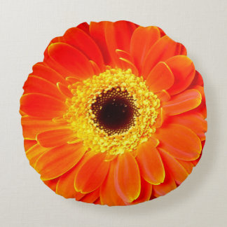 orange daisy flower round throw pillow