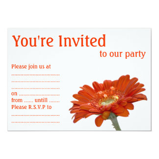 "Orange Daisy Gerbera Flower 5"" X 7"" Invitation Card"