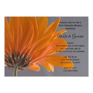 Orange Daisy Gray Post Wedding Brunch Invitation