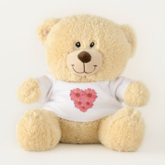 Orange Daisy Heart Teddy Bear