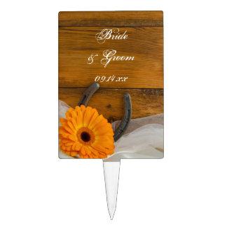 Orange Daisy Horseshoe Country Wedding Cake Topper