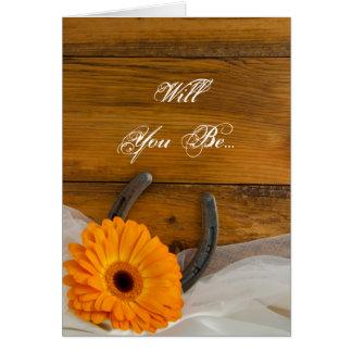 Orange Daisy Horseshoe Will You Be My Bridesmaid Card