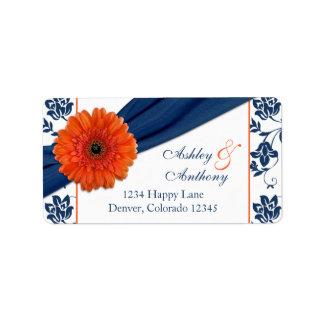 Orange Daisy Navy Damask Wedding Return Address Address Label