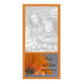Orange Daisy on Gray Wedding Save the Date Customized Photo Card