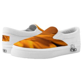 Orange Daisy Petals on Black Printed Shoes
