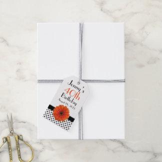 Orange Daisy Polka Dot Birthday Gift Tags
