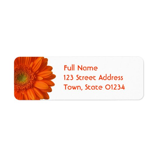 Orange Daisy Return Address Mailing Label