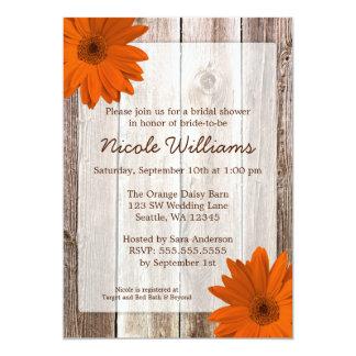 Orange Daisy Rustic Barn Wood Bridal Shower 13 Cm X 18 Cm Invitation Card