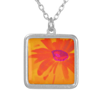 Orange Daisy Silver Plated Necklace