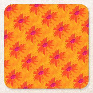 Orange Daisy Square Paper Coaster
