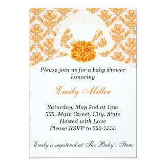 Orange Damask Bridal Shower Flat Card Invitation