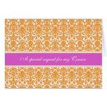 Orange Damask Cousin Maid of Honour Invitation