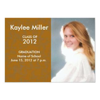 Orange Damask Formal 2012 Graduation Picture 13 Cm X 18 Cm Invitation Card