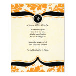 orange damask Paisley Wedding save the date Personalized Invitations