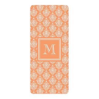 Orange Damask Pattern 1 with Monogram 4x9.25 Paper Invitation Card