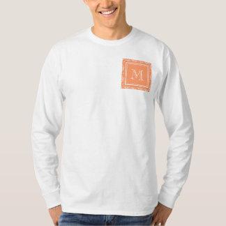 Orange Damask Pattern 1 with Monogram T-Shirt