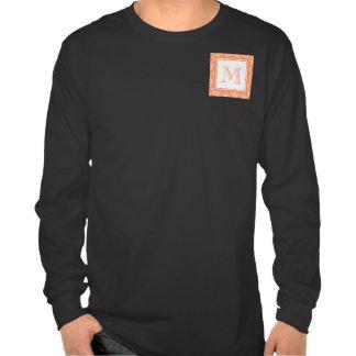 Orange Damask Pattern 1 with Monogram T-shirts