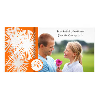 Orange Dandelion Save the Date Photo Greeting Card