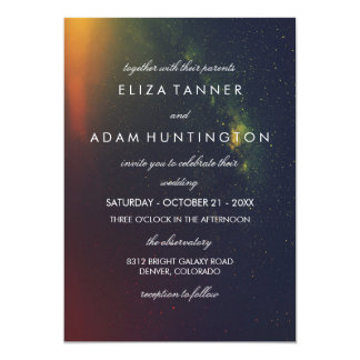 Orange & Dark Blue Galaxy Photo Wedding Invitation