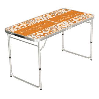 Orange Day Geometric Beer Pong Table