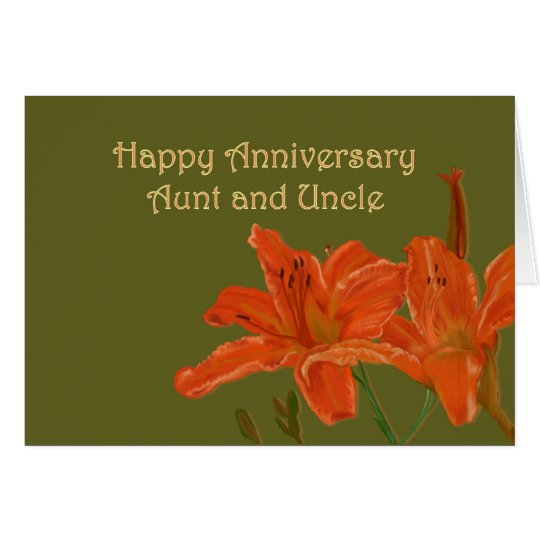 Orange Day Lilies Anniversary Card