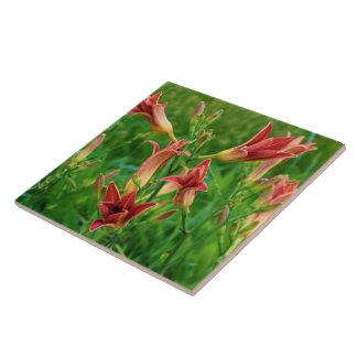 Orange Daylilies Summer 2016 Ceramic Tile