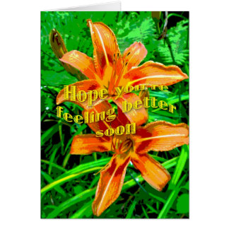 Orange Daylily Feel Better Soon Card
