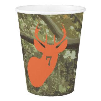 Orange Deer Head Camo Birthday Party Cups