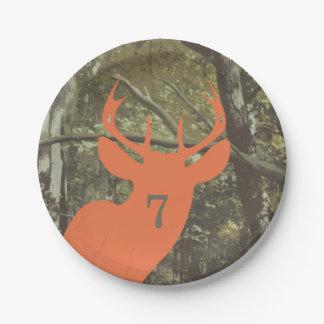Orange Deer Head Camouflage Hunting Birthday Paper Plate