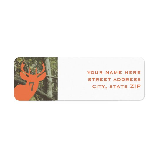 Orange Deer Hunting Birthday Party Address Labels