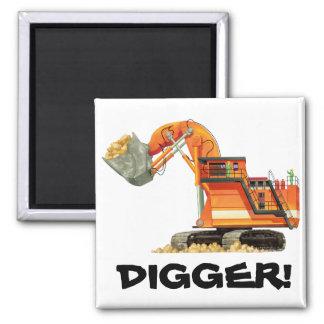 Orange Digger Square Magnet