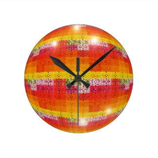 Orange Disco Ball Pattern Round Clock