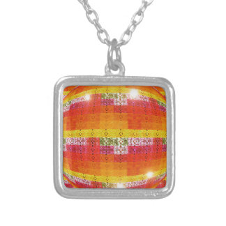 Orange Disco Ball Pattern Silver Plated Necklace