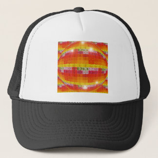 Orange Disco Ball Pattern Trucker Hat