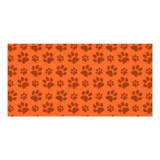 Orange dog paw print pattern customized photo card