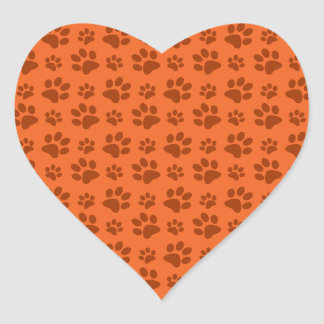 Orange dog paw print pattern heart sticker