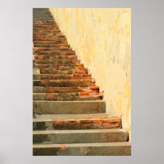 Orange Dominates these 16th Century Stairs Print