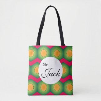 Orange dot custom all over print tote tote bag