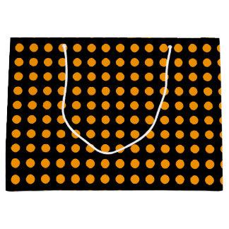Orange Dots over Black Background Large Gift Bag