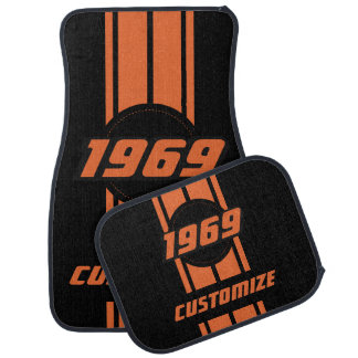 Orange Double Race Stripes | Personalize Car Mat