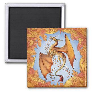 Orange Dragon of Autumn Nature Fantasy Art 2 Inch Square Magnet