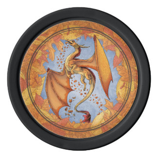 Orange Dragon of Autumn Nature Fantasy Art Poker Chips