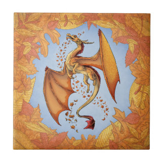 Orange Dragon of Autumn Nature Fantasy Art Small Square Tile