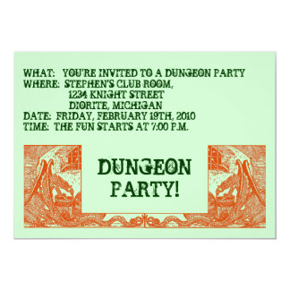 "ORANGE DRAGONS IN THE DUNGEONS ~ PARTY INVITATION! 5"" X 7"" INVITATION CARD"