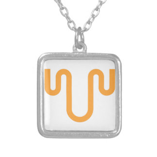 Orange Dripping Design Silver Plated Necklace