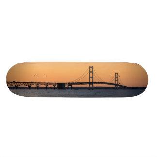 Orange Dusk Mackinac Bridge 20 Cm Skateboard Deck