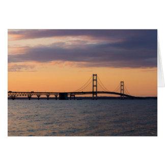 Orange Dusk Mackinac Bridge Card
