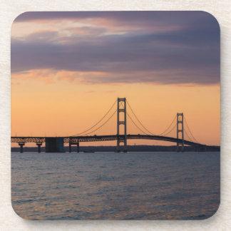 Orange Dusk Mackinac Bridge Coaster