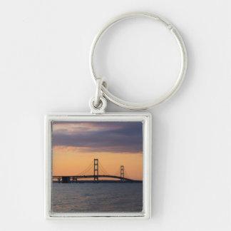 Orange Dusk Mackinac Bridge Key Ring