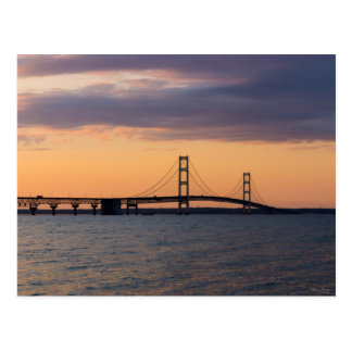 Orange Dusk Mackinac Bridge Postcard
